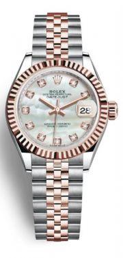 Rolex Lady Datejust. acél 18k rose gold. Rose gold gyöngyház számlap  gyémántokkal. 504965b162